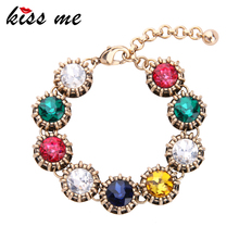 KISS ME 2017 New Geometric Colorful Crystal Bracelet Women Fashion Alloy Charm Bracelet Vintage Jewelry
