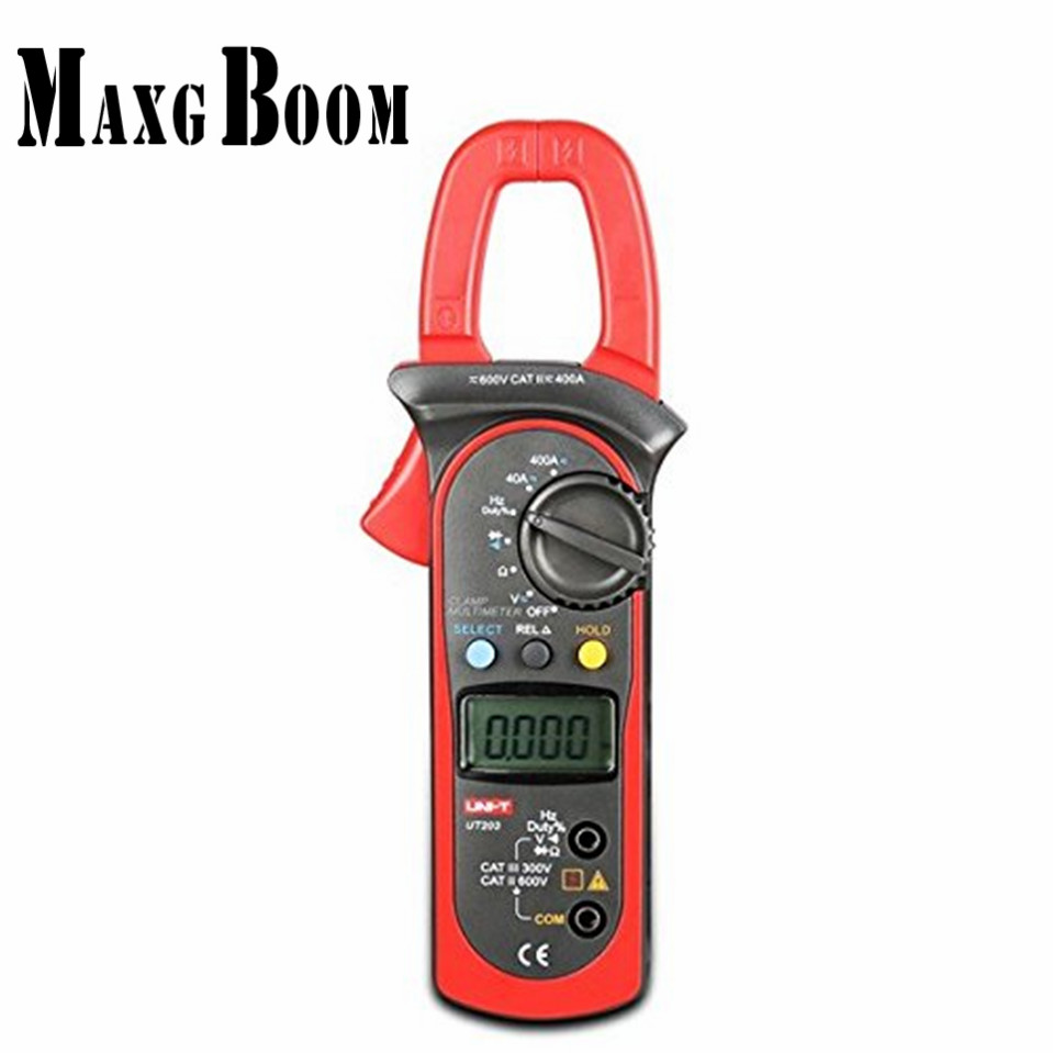 MaxgBoom Original UNI-T UT203 UT 203 Digital Clamp Multimeter Ohm DMM DC AC Current Voltmeter 400A<br>