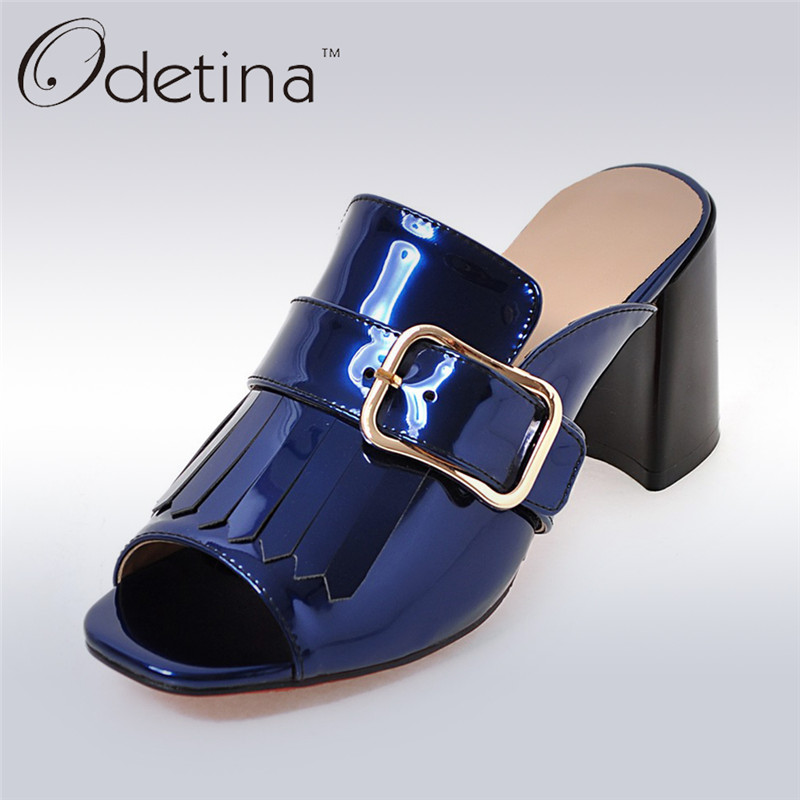 Odetina Brand 2017 New Summer Women Square Buckle Slingbacks High Heels Sandals Open Toe Pumps Tassels Mules Dete Pour Femme<br>