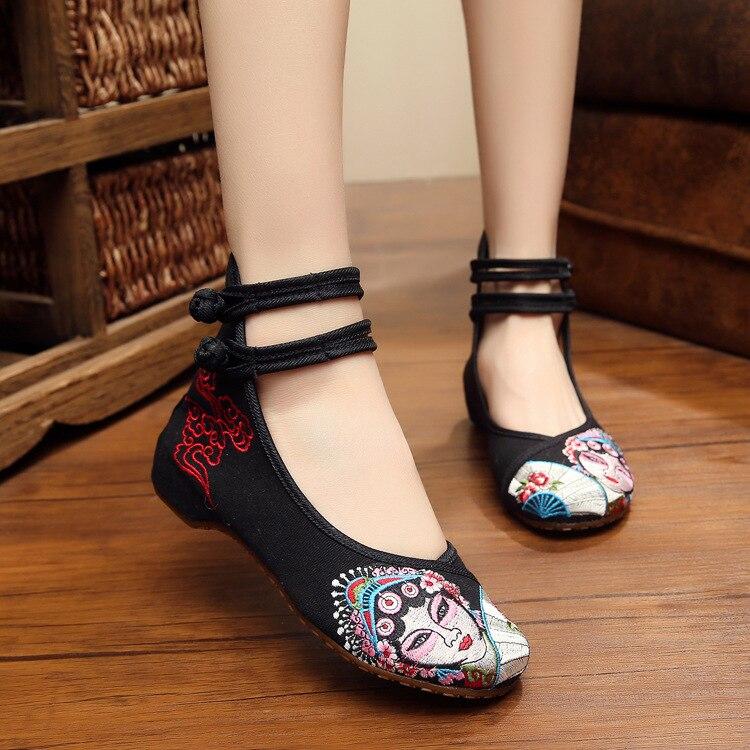 New fashion Chinese style Peking Opera blues embroidery women flats shoes black casual fashion dance walking oxford shoes women<br><br>Aliexpress
