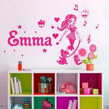 Girls Name Wall Decal Sticker Butterfly Decoration Wall Stickers Monster High Personalized Name Vinyl Art Home Decoration D578
