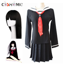 Coshome Anime Hell Girl Enma Ai Cosplay Costumes 100cm Long Wigs School Sailor Uniforms Halloween Party Women Black Dress
