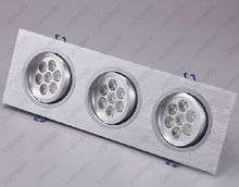Triple Head 21W 3 7W 21 LED Ceiling Recessed Light Fixture Grill Lamp Bulb KIT(China)
