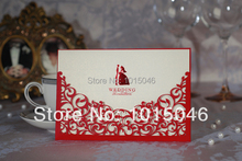 Free Shipping 20X Red Laser Cut Wedding Invitation Card Customized With Envelope Ideas Blank Inside Wedding Gift(China)