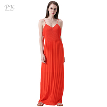 PK red summer maxi dress 2017 coral collar beach party sexy club sundress boho summer dress tiny pleats female women maxi dress(China)