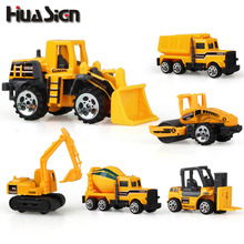6pcs/lot Mini Engineering Pull Back Toy Excavator Forklift Burrow Truck Dump Truck Crane Charging Crane Road Roller Kid's Toys