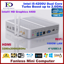Free Shiping 2015 New Fanless Thin Client, Mini PC, Intel i5-4200U CPU, Barebone, 4*USB 3.0, HDMI, WiFi, 3280*2000, 4K, Blue-ray