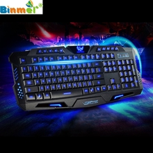 Beautiful Gift 100% Brand New Three Color Backlight M200 Multimedia Ergonomic Gaming Keyboard Wired Wholesale price Dec17(China)