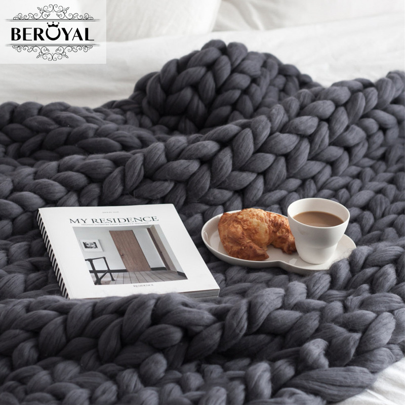 Beroyal Brand 2017 Blanket Woollen Threads Are Hand-woven Blankets Knitting Wool Sofa Cover Blanket  Many Color 100*130cm<br>