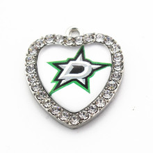 New arrival 10pcs/lot heart white crystal Dallas Stars Sports glass Dangle Charms for Necklace Fashion jewelry(China)