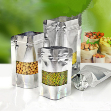 0.34mm Aluminum Plating Zip-lock Stand Front Clear Food Bags Thicken Plastic Packaging Pastry Dried Meat Grains Tea Pouches