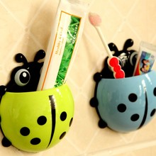 Cute Ladybug Insect Suction Hooks Toothbrush Wall Suction Bathroom Rack Cartoon Wash items Storage Box Sucker Toothbrush Holder(China)
