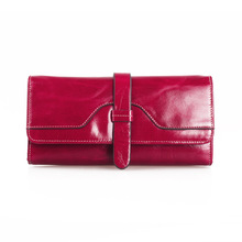 New Arrive Fashion Retro Women Wallet  Brand Long Purse Clutch Women Casual Hasp  Wallet 5 colors 100% cow leather made 2006