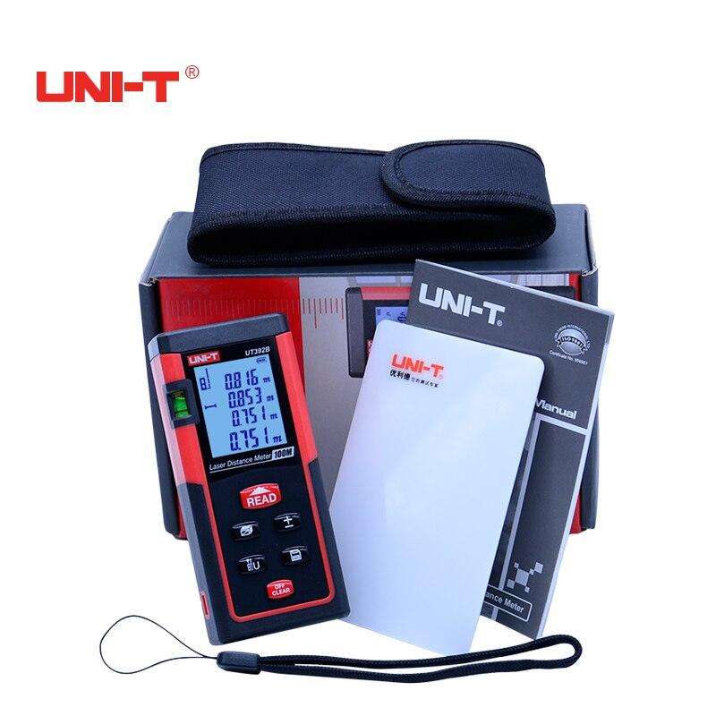 Digital Laser rangefinder UT392B Distance Meter Auto calibration 100M Laser Range finder Data hold  Measure Area/volume Tool<br>