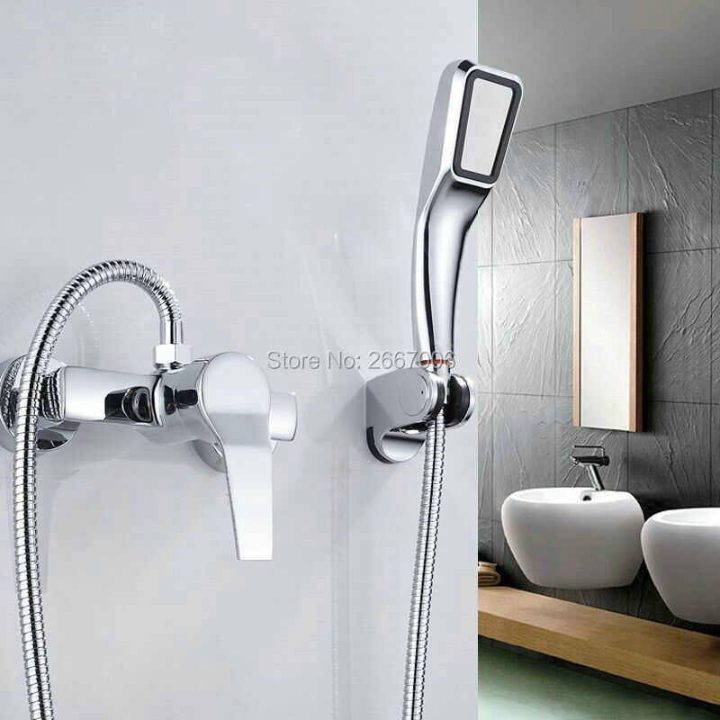 Free shipping Economic Wholesale &amp; Retail Bath Shower faucet Wall Mount Chrome Finish Brass Mixer Tap With Hand Shower Set ZR022<br>