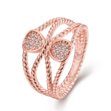 Beautiful Rose Gold Color Multilayer Rings Fashion Women Party Jewelry Crystal Bijoux Female Fine Gift For Christmas Jewellery(China)