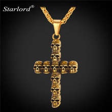 Trendy Skull Cross Crucifix Necklace&Pendant Stainless Steel/Gold Color Chain For Men Gift Christian Cross Jewelry GP2495(China)