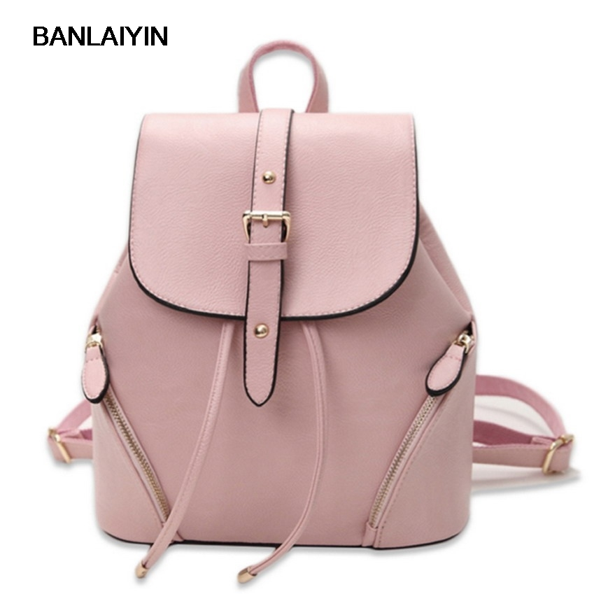 Women Casual Leather Hasp Backpack School Bag Female Backpacks Women Preppy Style High Quality Rucksack Sweet Ladies Knapsack<br>