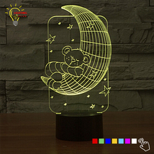 3D Lamp for Baby Bedroom LED Lighting Bear on Moon Star Night Light Luminaria Color Change Cartoon Bedside Nightlight for Child