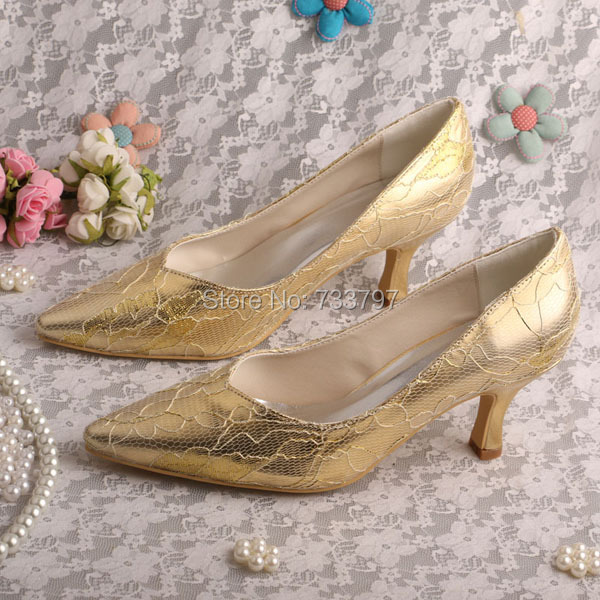 Wedopus MW10211H Sexy Gold Lace Office Lady Shoes Wedding Bridal Pumps Pointed Toe Dropship<br>