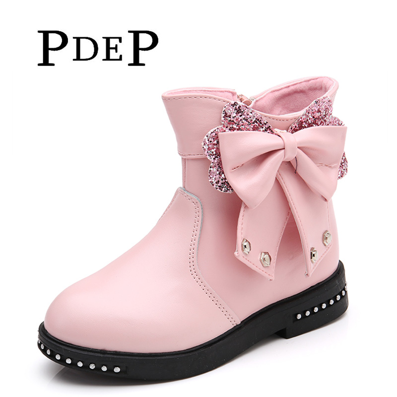 PDEP Autumn Teenage Girl Glitter Princess Rivets PU Leather Boots Butterfly Knot Ankle Platform Leather Autumn Girl Boots(China (Mainland))