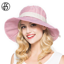 Summer Cotton Sun Hat For Womens Fashion 2017 Wide Brim Floppy Sun Visors Elegant Stripe Casual Beach Hat Black/Red/Pink(China)