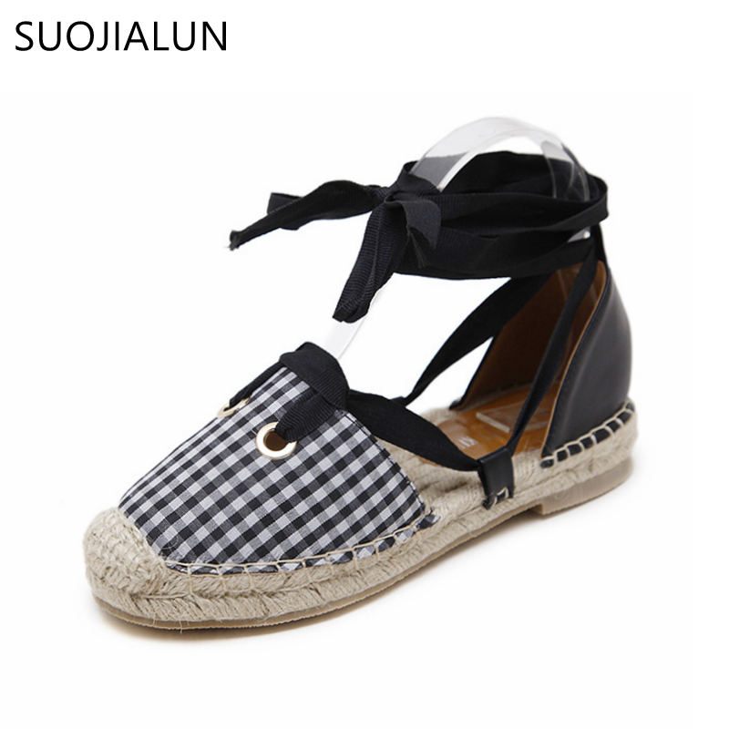 SUOJIALUN 2018 Spring Women Loafer Cross-tied Cane Hemp Straw Fisherman Flat Heel Shoes Casual Canvas Women Shoes<br>