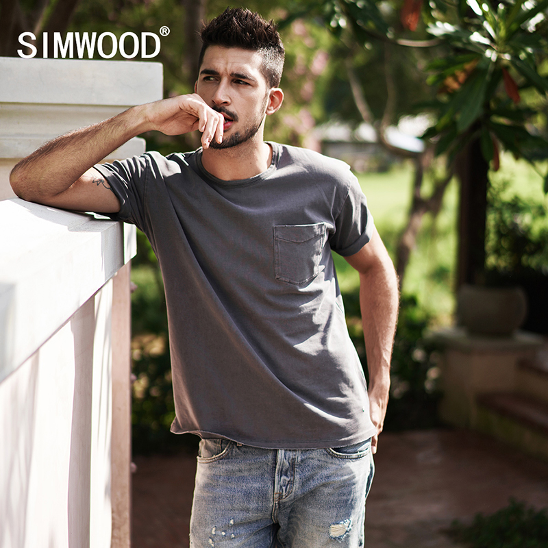 SIMWOOD Brand Tees 2018 New Spring Summer T shirts Men Fashion Short Sleeved loose Stretch Vintage Plus Size Tees 180005