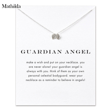 Guardian Angel, Angel Wings  Silver Plated  Pendant Necklace Clavicle Chain Statement Necklace Women Jewelry E010