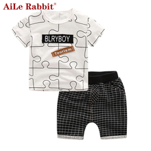 Buy AiLe Rabbit Summer Baby Boy Clothes Kids Short Sleeve t-shirt+shorts 2pcs Set letter pattern boys clothing children clothing set for $9.47 in AliExpress store