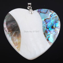 Free shipping New Zelanian Abalone Shell Pearl Gem Stone Heart Bead Pendant Jewelry TN2091