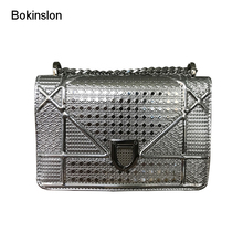 Bokinslon Women Chain Handbags Patent Leather Individuality Female Small Square Bags Fashion Temperament Woman Shoulder Bags