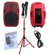 "STARAUDIO SSRM-15 Red PA DJ 3500W  15""  Powered Active Stage USB SD FM BT  Speaker with 1 Stand 1 Wired Microphone"