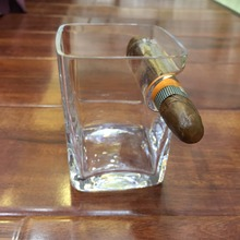 Dropshiping Whiskey Glass Cup Bottle With Cigar Groove Rack Holder Ashtray Multi-Functional Beer Wine Glass Cup(China)