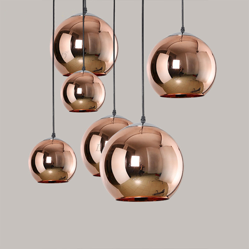 Post Modern Mirror Pendant Light Hanging Glass Silver Gold Copper Round Shade Pendant Lamp Suspension Glass Ball Pendant Light<br>