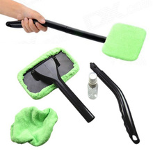 Hot Microfiber Car Windshield Easy Cleaner Cleaning Tool Detachable Handle Brush Washer Towel 2 Pads 30ml Spray Bottle HG0037