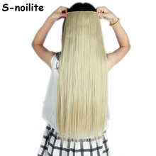 ash blonde mix bleach blonde Long 26 inches Straight 3/4 Full Head Clip in Hair Extensions Synthetic One Piece 5 clips ins(China)