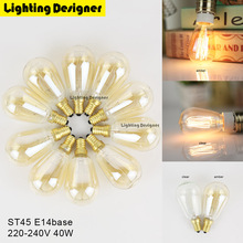 Buy 10pcs packed lot ST45 Edison bulb E14 220V 40W globe Retro antique bulb vintage lamp squirrel cage filament design decor light for $19.99 in AliExpress store