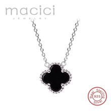Double faced black four leaf clover necklace female 925 silver pendant chain Valentine' birthday gift (DA271)(China)
