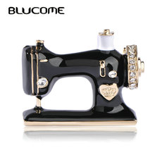 Blucome Women Girls Sewing Machine Brooch Black Enamel Brooches Jewelry Hijab Pin For Collar Suit Scarf Decoration Accessories(China)
