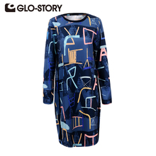 GLO-STORY 2017 Women Fashion Dress Spring Long Sleeve Geometric Casual Tunic Female Loose Bohemian Style Blue Vestidos 5639(China)