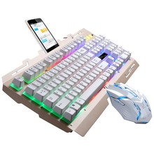colorful waterproof gaming keyboard and mouse together with mobile phone stand for home and official use as best choice(China)