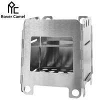 Rover Camel Pocket Size Multi Fuel Stove Stainless Steel Folding Alcohol Stove Outdoor Camping Cooking Wood Stove WS007