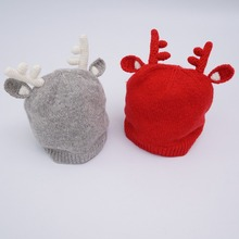 Hot Baby Hat Girl boy Toddler Knitted Hat Character Style Infant Kids Crochet Caps Christmas Elk Horn warm Autumn Winter Hat(China)