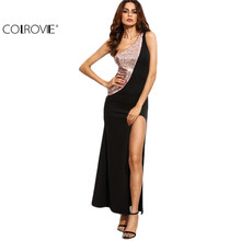 COLROVIE Black Contrast Sequin Panel High Slit One Shoulder Dress Sexy Club Wear Color Block Sleeveless Maxi Dress
