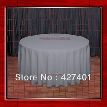 "Hot Sale 120""Round Charcoal 210GSM Polyester plain Table Cloth For Wedding Events & Party Decoration(Supplier)"