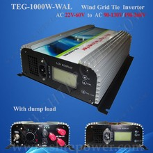 1000W on Grid Tie Wind Power Inverter AC 22V~60V to AC 100v 110v 120v with Dump Load Controller for 3 Phase Wind turbine(China)