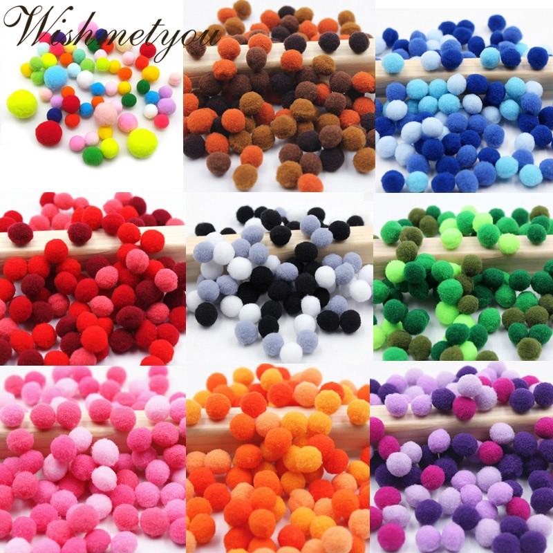 100Pcs 10-20mm Dia Pom Poms Pompoms Balls Bobbles DIY Craft Card Making Decor