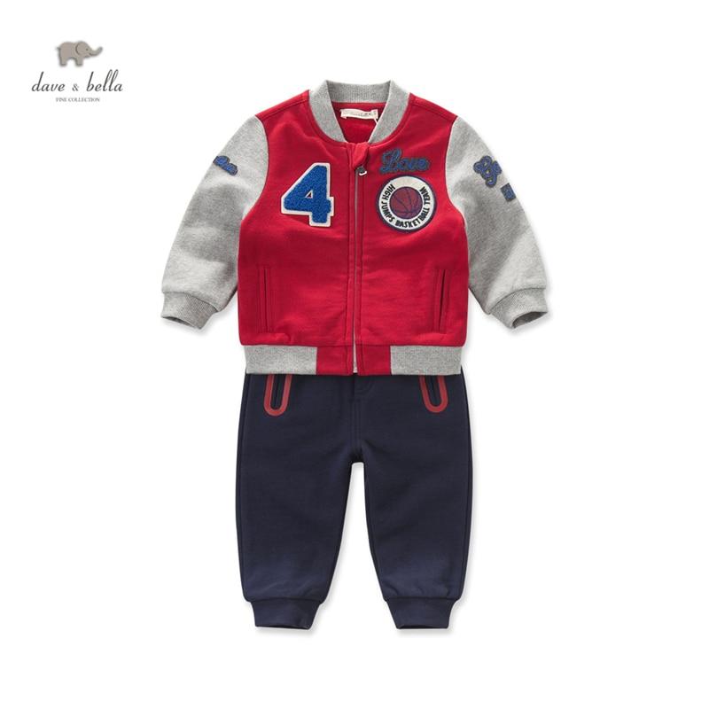 DB4228 dave bella autumn baby boys active sports clothing set boy red navy baseball clothing sets<br>