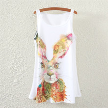 2017 summer new style sleeveless t-shirt rabbit flowers logo Slim female t shirt lady t shirt women clothing tops stylish tees
